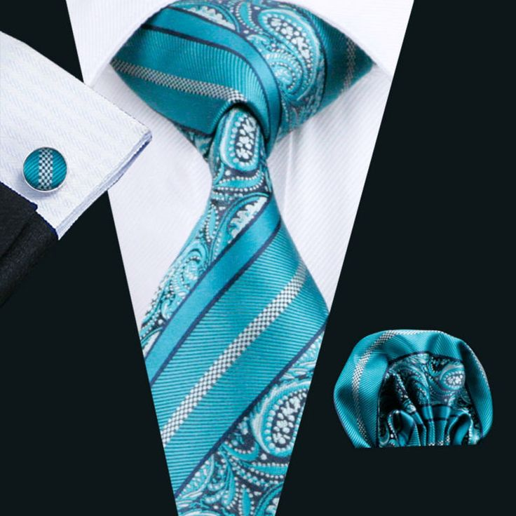 Silk Handkerchief - Striped pattern in navy blue and turquoise Notch p9CTBXuvo
