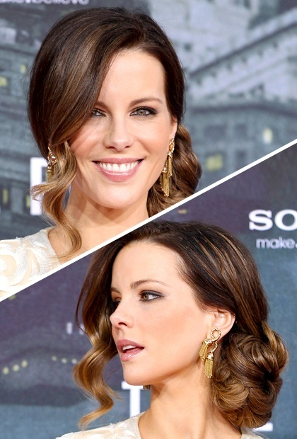 5 Updos in 3 Steps or Less, Kate Beckinsale, side chignon, easy updo