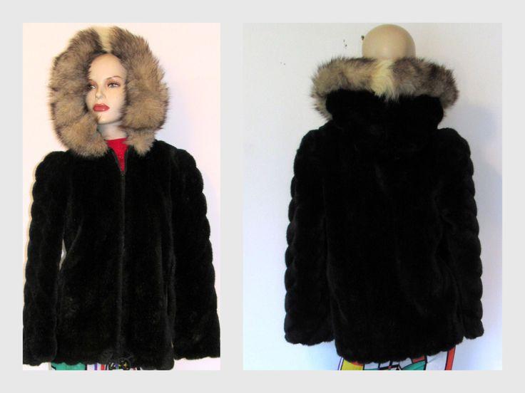 Vintage Sasson Black Faux Fur Coat Faux Fur Hooded Jacket Winter Coat Sz S/M by vintageandmore on Etsy
