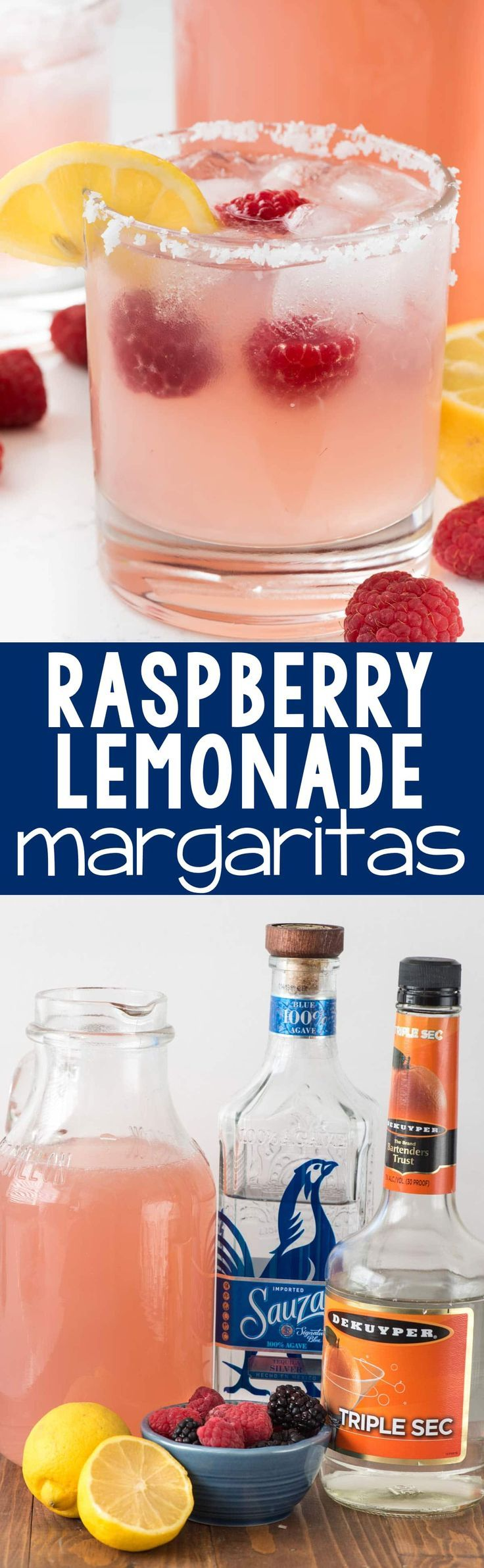 Raspberry Lemonade Margarita - this EASY cocktail recipe is the perfect margarita! Raspberry Lemonade, tequila, and triple sec- that's all it takes to make a pitcher!