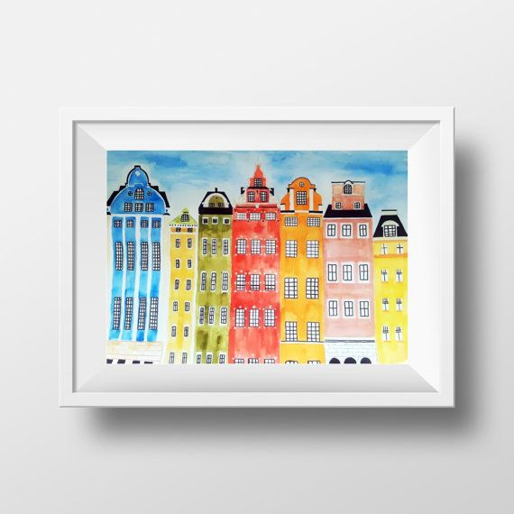 AVAILABLE CUSTOM ORDER - Stortorget Gamlasta Stockholm Buildings Painting