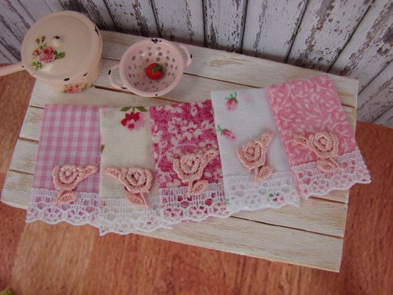 Charmant X Dollhouse Miniature Shabby Chic Kitchen Coordinating Pink Tea Towels With  Pretty Rose Applique.