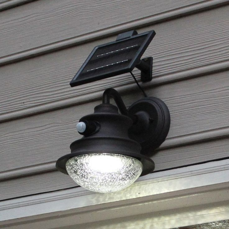 Gama Sonic Barn Solar LED Motion-Sensing Light Fixture on Gooseneck Wall Sconce - 122PIR01