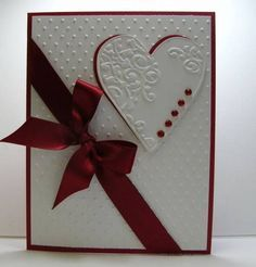 Gorgeous White Embossed Card...with heart & burgundy bow...by Reddyisco - Cards and Paper Crafts at Splitcoaststampers.