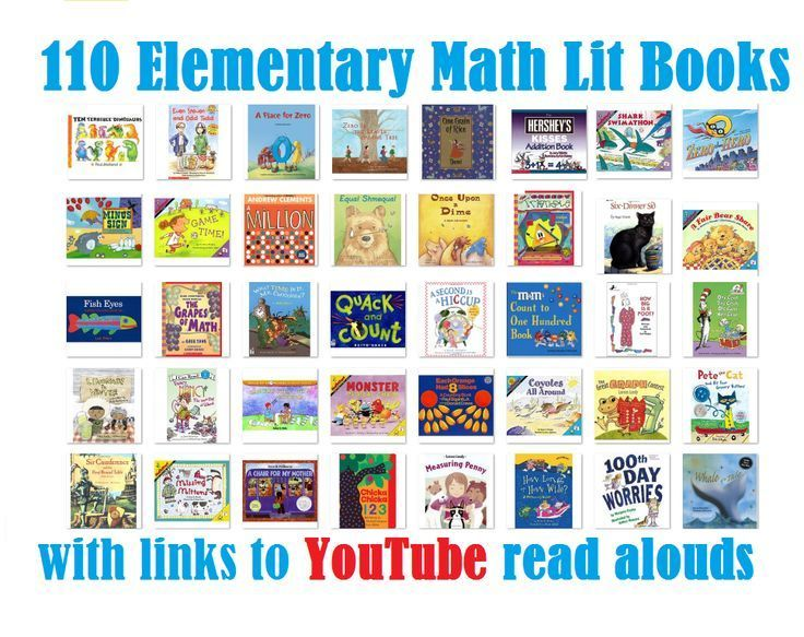 Big list of math literature books with direct links to YouTube read alouds. Excellent supplement for an elementary math curriculum. Including math literature makes concepts accessible and memorable. Click through to see the whole list!