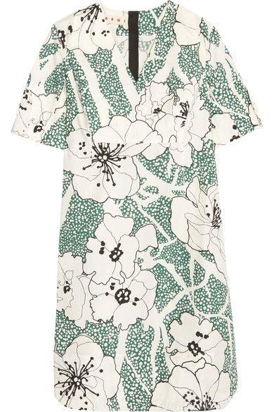 Marni - Floral-print Cotton Dress - Green - IT