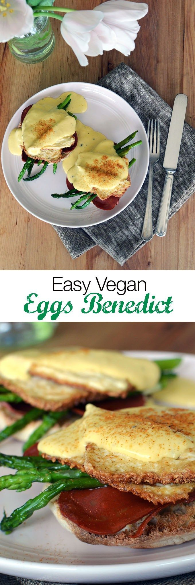 Vegan Eggs Benedict Recipe  Vegan Eggs Benedict is a dish that is almost impossible to come by. In this recipe you make dairy and egg free eggs benedict at home using egg replacer and some tofu!