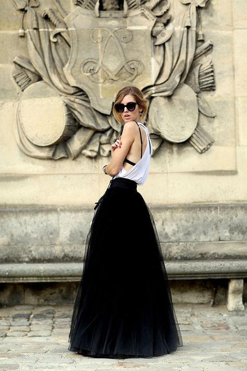lOVE THE FULL LENGTH TULLE LOOK.  Style Tips for Wearing a Tulle Skirt - Glam Bistro
