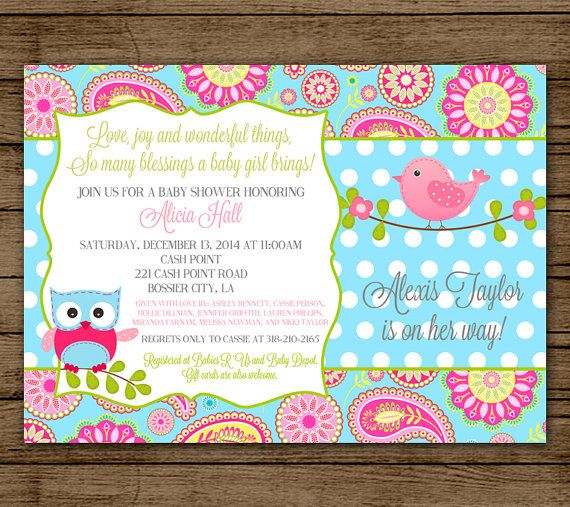 baby shower invitation owl bird pink aqua paisley bird diaper shower polka dot itu0027s a girl invite jpeg 5x7 digital file pdf jpeg printable