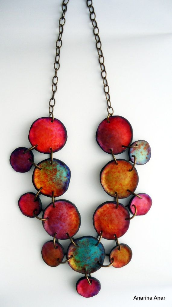 Polymer clay necklace.  - Unique organic shape.  - Total length: 28,5cm  - The ring through which the T-bar is secured, is on the right side of the