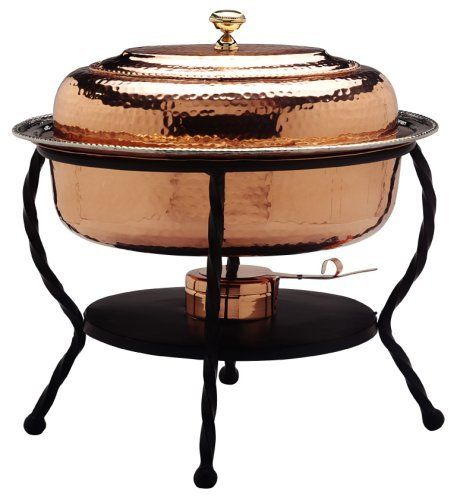 "Old Dutch 161/2""x121/2""x18"" Oval Décor Copper Chafing Dish, 6 Qt by Old Dutch. $185.38. 6 quart capacity. Gel fuel not included. Lacquered to resist tarnishing. Hand-crafted by skilled artisans. 16.5"" x 12.5"" x 18"". For serving pieces worthy of a royal buffet, look no further than Old Dutch¿s ¿De La Cuisine¿ collection of elegant chafing dishes. Offered in both polished and antiqued copper finishes, these impressive chaffers feature stainless steel food liners in 3, 6 and ..."