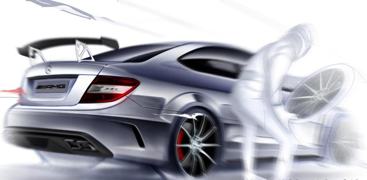 With a strong passion in motor sport and fuel in his blood, one of our designers created a sketch of the C 63 AMG Coupé Black Series in action.