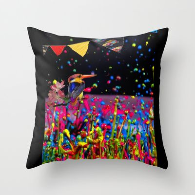 Kingfisher in a Paintscape (with added bunting) Throw Pillow by mentalembellisher - $20.00