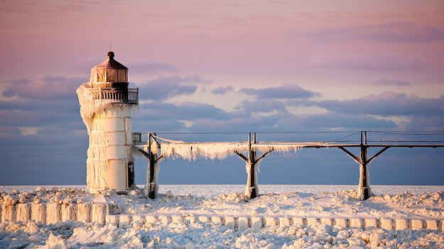 The outer lighthouse on St. Joseph Pier, Michigan.