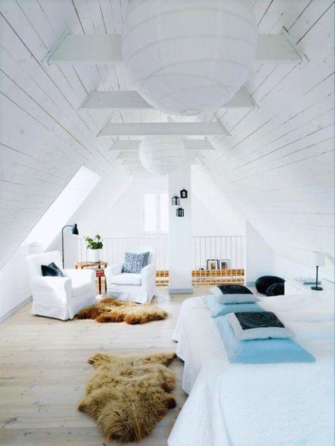 Villa Meindersma pure tolal white interiors, biale wnetrza, white interior design, Scandinavian white attic