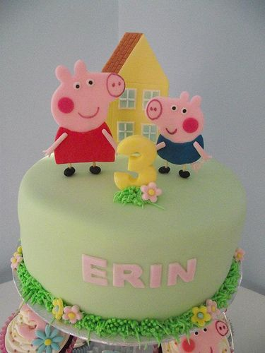 Peppa Pig Cakes - I like the flat face for the cupcake toppers.