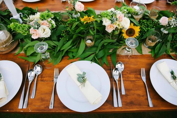 Rustic wedding table setting inspiration for those who loves nature | The Engagement Of Adrian & Fika - Romantic Rustic On Summer by Bali Wedding Specialist | bridestory.com