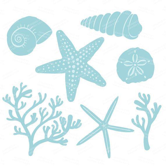 Premium Vector Seashells Clipart in Blue Mint  Blue