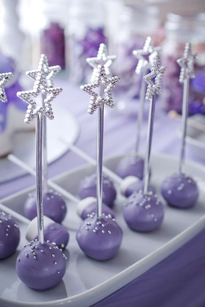 Star topped purple cake pops at a Sofia the First birthday party! See more party planning ideas at CatchMyParty.com!