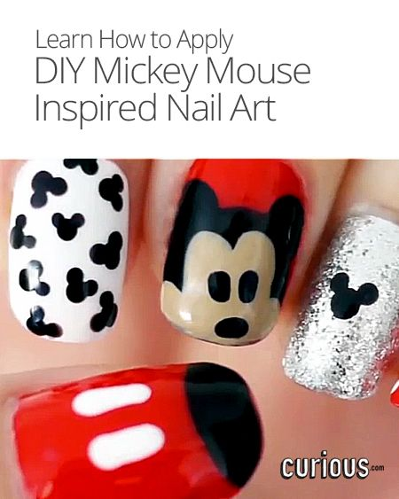 223 best disney nails images on pinterest disney nails disney diy mickey mouse inspired nail art prinsesfo Image collections