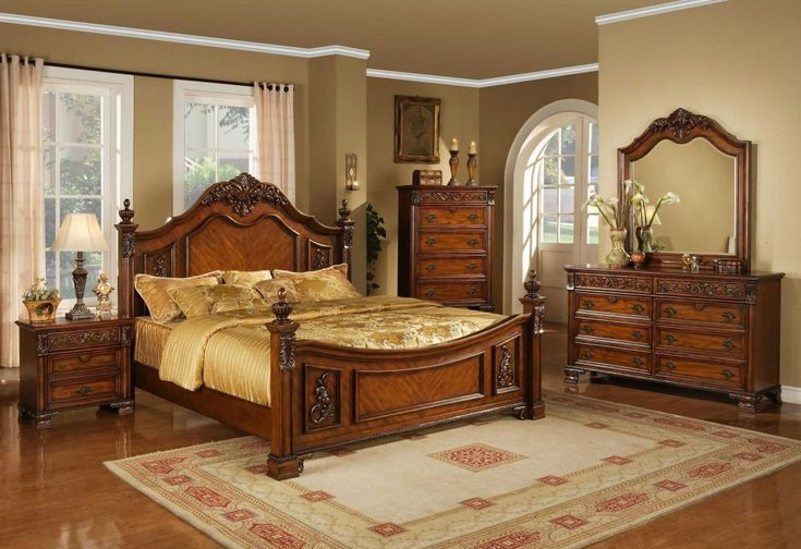 Traditional Ashley Bedroom Furniture Set Ideas For Hotel Plan Decoration In Classic Finish Solid Dark Brown Mahogany King Size Bed With Decorative Carving Art On Headboard And Golden Cotton Bedding, Awesome Cheap Bedroom Furniture Ideas For Home Innovation: Bedroom, Furniture