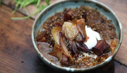 Nigel Slater's Sweet onions with lentil stew recipe.