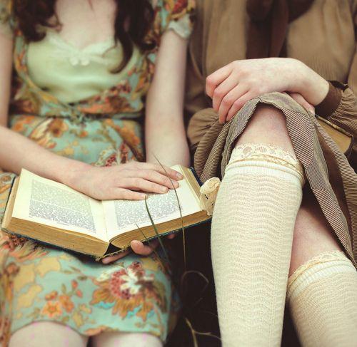 vintage books: True Friendship, Vintage Books Covers, Color, Covers Books, Knee Socks, Reading Books, The Dresses, Classic Books, Floral Dresses