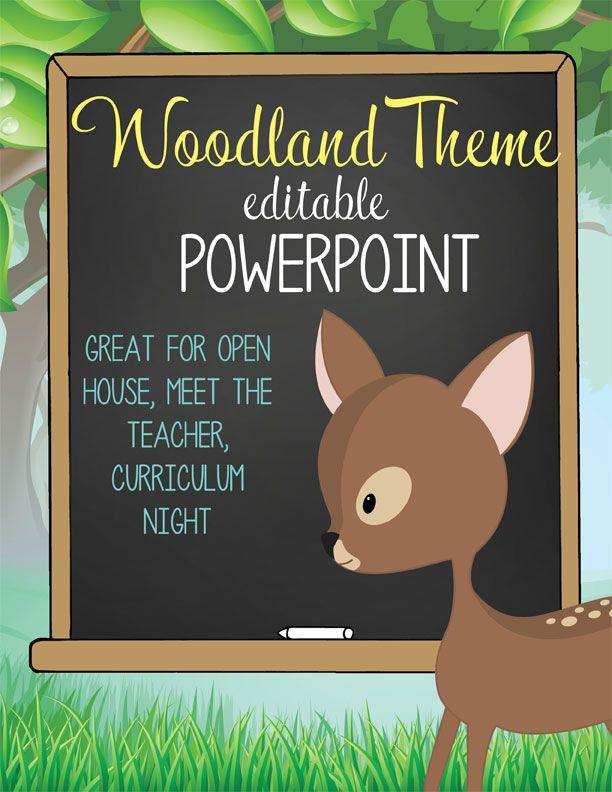 WOODLAND animals Theme Classroom Decor / PowerPoint / 21 editable slides / Invite / Scavenger Hunt / Party Sign Up Sheet / Great resource for Open House, Curriculum Night, Meet the Teacher / Artrageous Fun