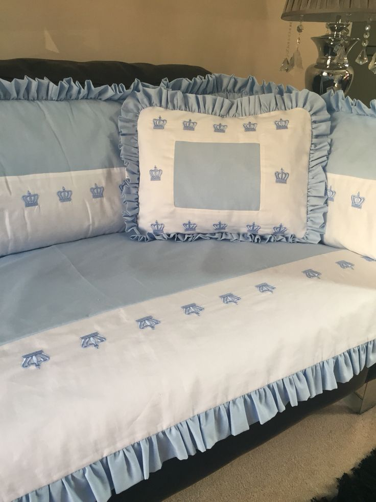 White and powder blue crown collection cot bed set Full cot bed bumper Matching pillow Matching quilt cover And matching turn back sheet Made to order