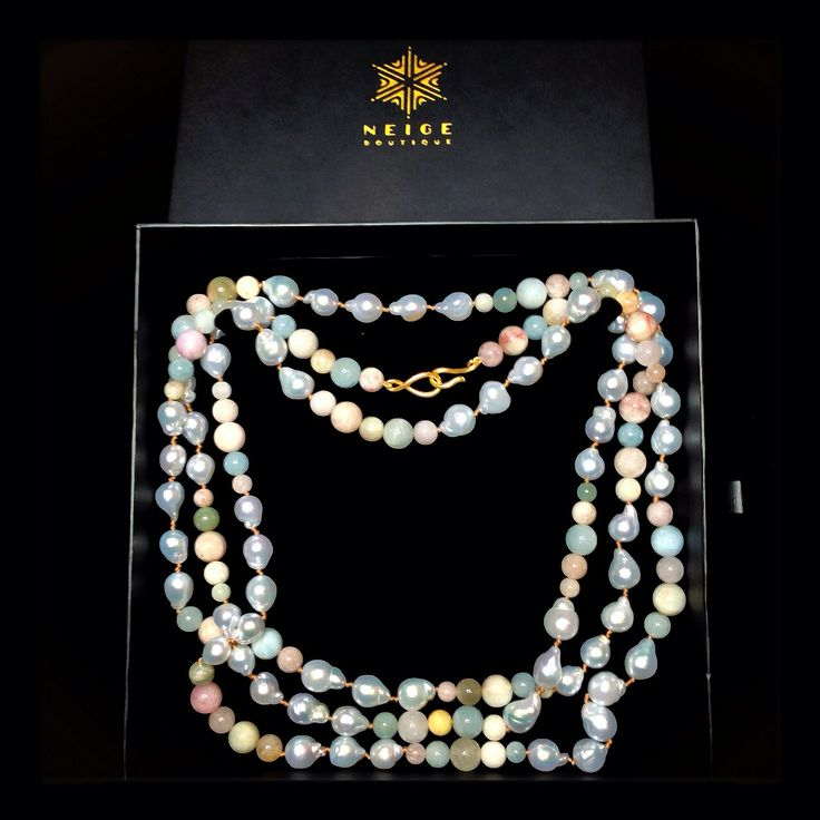 Valentine's day gift choice for the loved one. Baroque South Sea Pearl and mixed Beryl necklace opera length