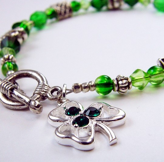 Lucky Clover  Green and Silver Celtic Bracelet by LicoriceTwig, $13.00