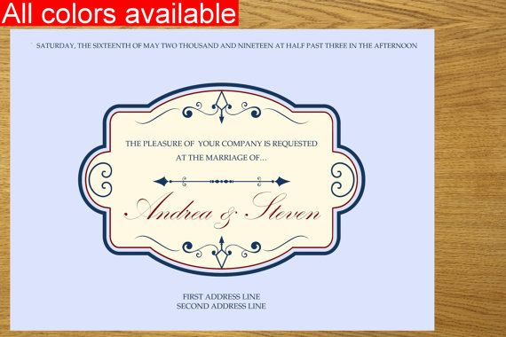 Vintage printable wedding invitation by WeddingTemplatesHub