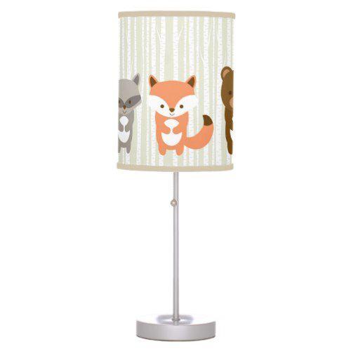 Cute Woodland Animals Nursery Lamp