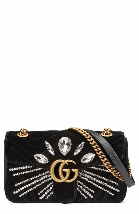 fdac07c4e20 Gucci GG Marmont 2.0 Crystal Embellished Velvet Crossbody Bag ...
