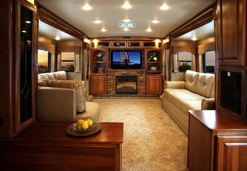 Luxurious RV living room. http://www.bellaterrarvresort.com