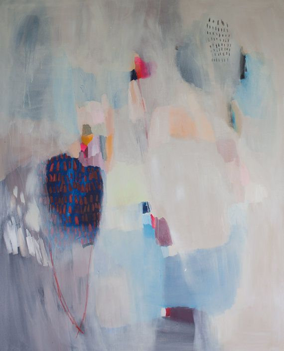 Extra large ABSTRACT PAINTING cream white blue by LolaDonoghue 65 x 53