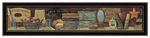 """The Craft Room BR225 Country Bath Shelf, Thirty Six by 6-Inch Hardwood Shaker Framed Wall Art by Pam Britton by The Craft Room. $34.57. From the Manufacturer                Country Bath Shelf is an attractive bath themed 36"""" X 6"""" Shaker Hardwood framed print By Pam Britton. No glass is needed to protect this artwork which features an attractive textured finish from a rolled on acid free acrylic polymer coating with UV protection to resemble a framed canvas look.              ..."""