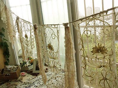 Shabby Wedding ribbon Garland Burlap banner vintage Lace baby shower Chic Cream