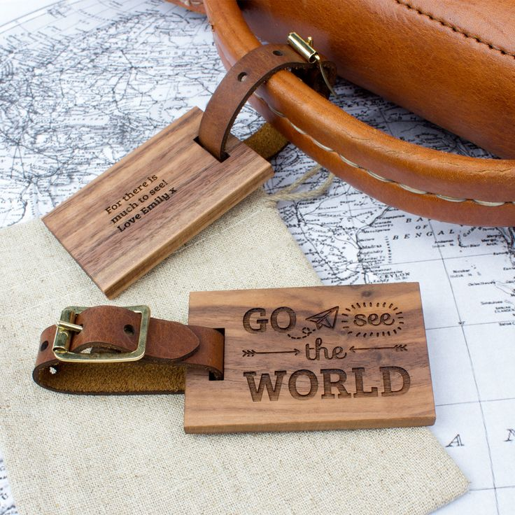 Wood Luggage Tag World | Create Gift Love £16 This stunning walnut and leather luggage tag is the perfect accessory for travelling in style! http://www.creategiftlove.co.uk/collections/personalised-anniversary-gifts/products/personalised-wood-luggage-tag-world #luggagetags #personalised #creategiftlove