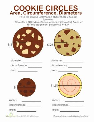 Here's a page where students must figure out the area, circumference, diameter and radii of different cookies.