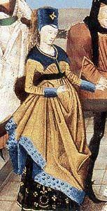 Variaciones en los cortes de cuello del vestuario. En esta imagen se observa el corte cuadrado. La misma pertenece al manuscrito MS5087-F144, Bibliothèque de l'Arsenal de París (1450c.)