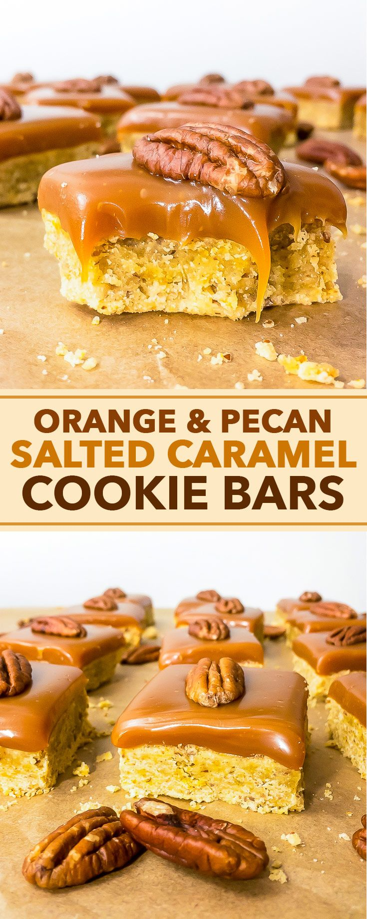 Orange and Pecan Salted Caramel Cookie Bars - Orange zest and pecans join forces in these amazing orange and pecan salted caramel cookie bars. This cookie bar recipe is incredibly simple and super easy to follow. From the melt-in-the-mouth salted caramel sauce layer, to the buttery, crumbly pecan cookie base with bursts of aromatic orange zest – every single bite of this delightful dessert will blow your mind!