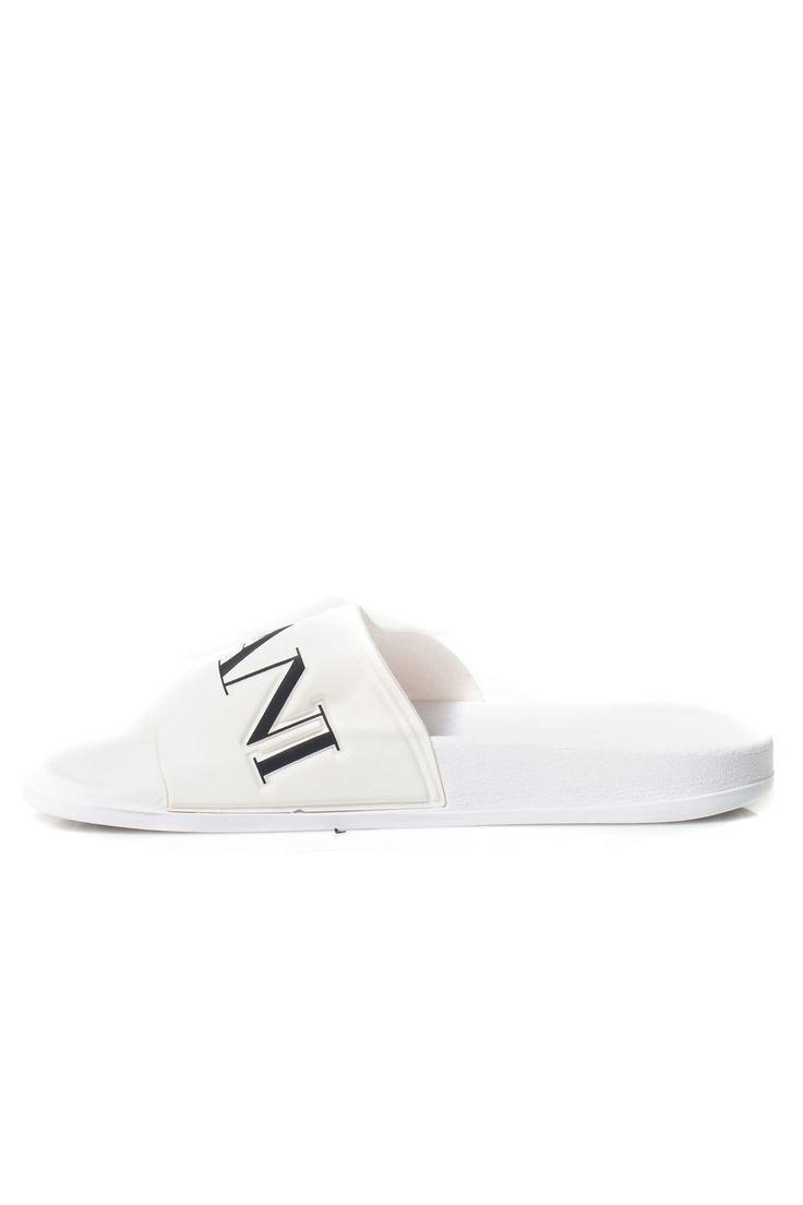 Armani Jeans  , Sandali Flat , stampa frontale , logo laterale , made in italy , colore: bianco-nero , composizione: 100% gomma , linea: ARMANI JEANS  - Euro 50
