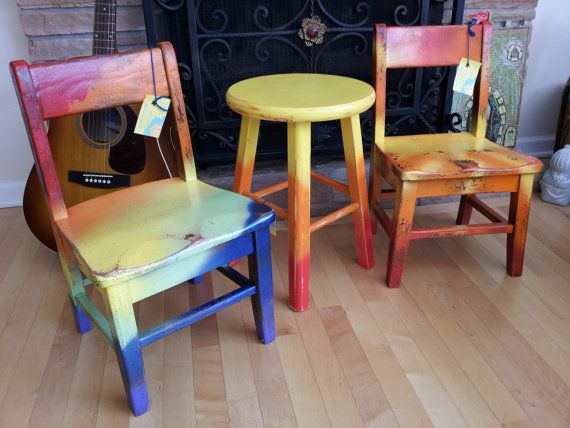 "Hand Painted OOAK Upcycled Vintage OAK Old School House Children's Chair ""Rainbow Memories"" in a Beautiful Tie Dye style of Color, Kids Gift"