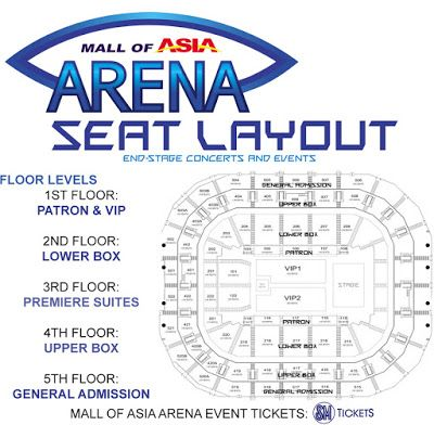 SM Mall of Asia Arena SEAT LAYOUT ~ MANILA CONCERT SCENE >> Location: Mall of Asia Complex, Bay City, Pasay City, Philippines. >> https://www.facebook.com/mallofasiaarena >> https://twitter.com/MOAArena >> https://www.mallofasia-arena.com/