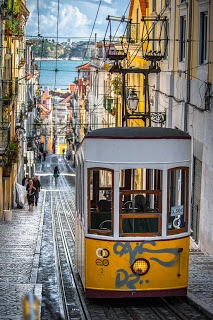 Lisbon, Portugal Typical to see those trams along the streets.