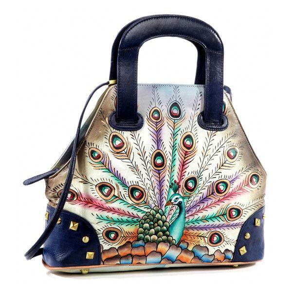 Magnifique Bags Blue & Green Peacock Hand-Painted Leather Satchel featuring polyvore, women's fashion, bags, handbags, green leather handbag, leather handbags, leather satchel, satchel handbags and leather satchel purse