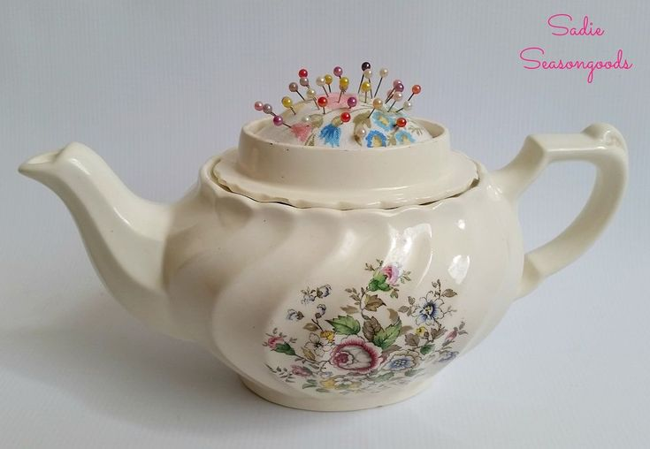 Vintage Teapot Sewing Caddy With Hidden Pincushion | Hometalk