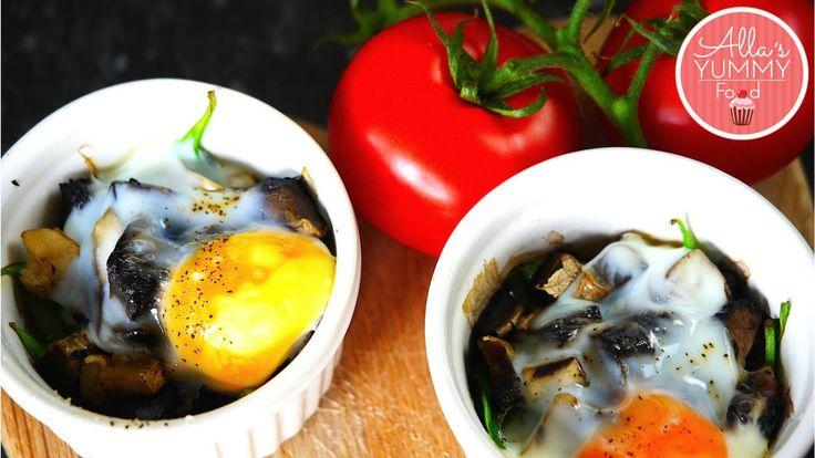 Egg Bake Recipe (with Mushrooms & Spinach) - Запеченные яйца со шпинатом