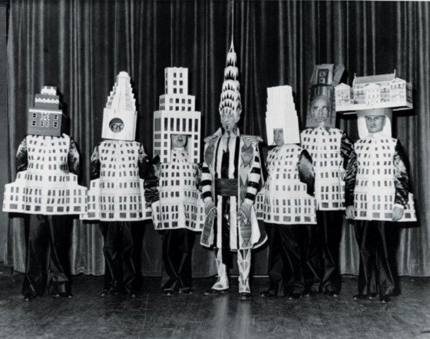 Architects at the 1931 Beaux Arts Architect Ball. From left to right: Stewart Walker (Fuller Building), Leonard Schultze (Waldorf-Astoria), Ely Jacques Kahn (Squibb Building), William Van Alen (Chrysler Building), Ralph Walker (1 Wall Street), D.E.Ward (Metropolitan Tower), and Joseph H. Freelander (Museum of New York).